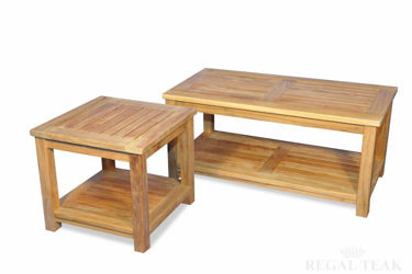 Picture of Teak Coffee Table End Table with shelf