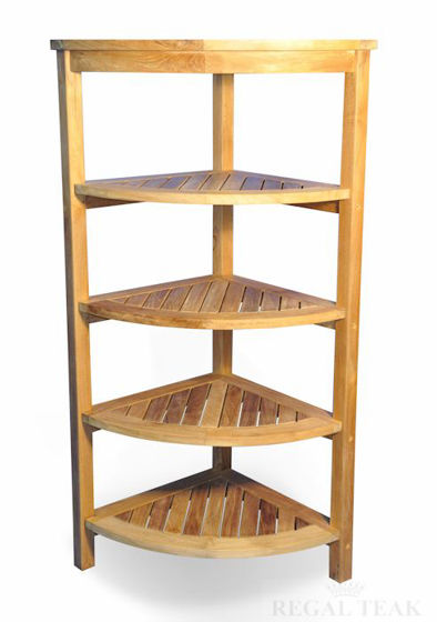 Picture of Teak Corner Shelf 5 Tier
