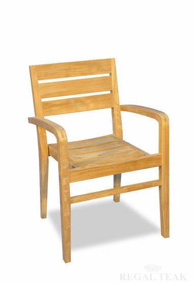 Picture of Teak Ventura Stacking Chair with arms