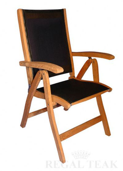 Picture of Teak Recliner Sling fabric Black