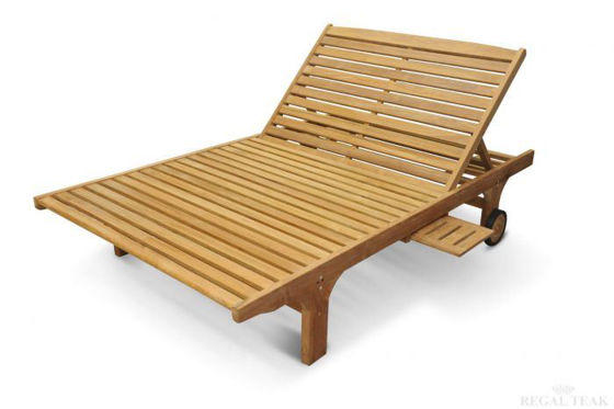 Picture of DOUBLE TEAK CHAISE SUN LOUNGER